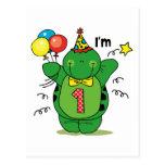1r cumpleaños de la tortuga feliz tarjetas postales