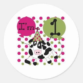 1r cumpleaños de la vaca rosada pegatina redonda