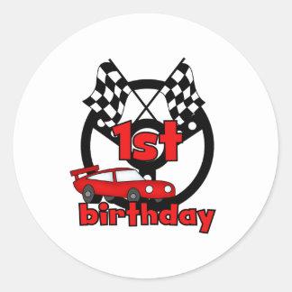 1r cumpleaños de las carreras de coches pegatina redonda