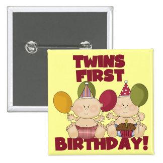 1r cumpleaños de los gemelos - camisetas y regalos pin cuadrada 5 cm