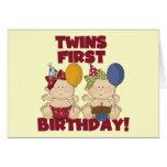 1r cumpleaños de los gemelos - camisetas y regalos felicitación