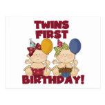 1r cumpleaños de los gemelos - camisetas y regalos tarjetas postales