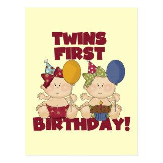 1r cumpleaños de los gemelos - camisetas y regalos tarjeta postal