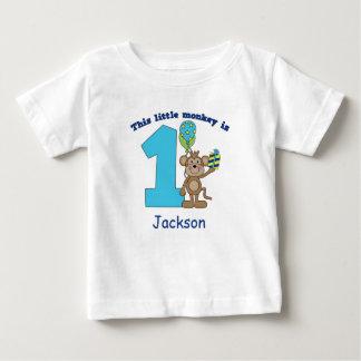 1r cumpleaños de los pequeños niños del mono playera