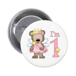 1r cumpleaños de princesa Bear Pin Redondo De 2 Pulgadas