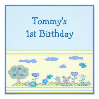 """1r cumpleaños del bebé invitación 5.25"""" x 5.25"""""""
