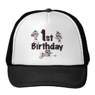 1r Cumpleaños del béisbol del mono del calcetín Gorras De Camionero