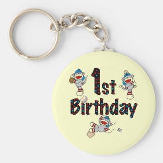 1r Cumpleaños del béisbol del mono del calcetín Llaveros Personalizados