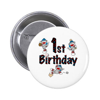 1r Cumpleaños del béisbol del mono del calcetín Pin Redondo De 2 Pulgadas