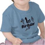 1r Cumpleaños del béisbol del mono del calcetín Camisetas