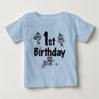1r Cumpleaños del béisbol del mono del calcetín Playeras
