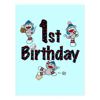 1r Cumpleaños del béisbol del mono del calcetín Postales