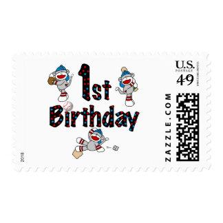 1r Cumpleaños del béisbol del mono del calcetín Sellos