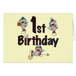 1r Cumpleaños del béisbol del mono del calcetín Tarjeta De Felicitación
