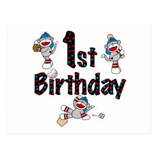1r Cumpleaños del béisbol del mono del calcetín Tarjetas Postales