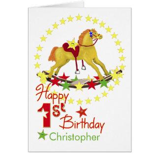 1r cumpleaños del caballo mecedora tarjeta de felicitación