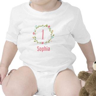 1r cumpleaños del chica floral de la guirnalda trajes de bebé