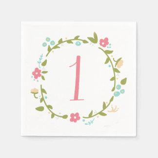 1r cumpleaños del chica floral de la guirnalda servilletas desechables