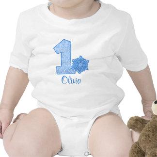 1r cumpleaños del copo de nieve azul personalizado traje de bebé