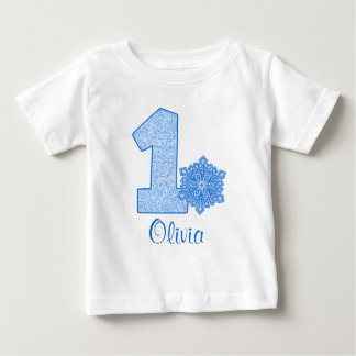 1r cumpleaños del copo de nieve azul personalizado playera de bebé