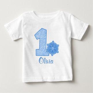 1r cumpleaños del copo de nieve azul personalizado playeras