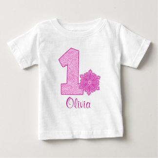 1r cumpleaños del copo de nieve rosado polera