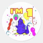 1r Cumpleaños del dinosaurio del cumpleaños Pegatina Redonda