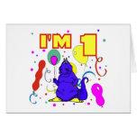 1r Cumpleaños del dinosaurio del cumpleaños Tarjeta
