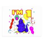 1r Cumpleaños del dinosaurio del cumpleaños Tarjeta Postal