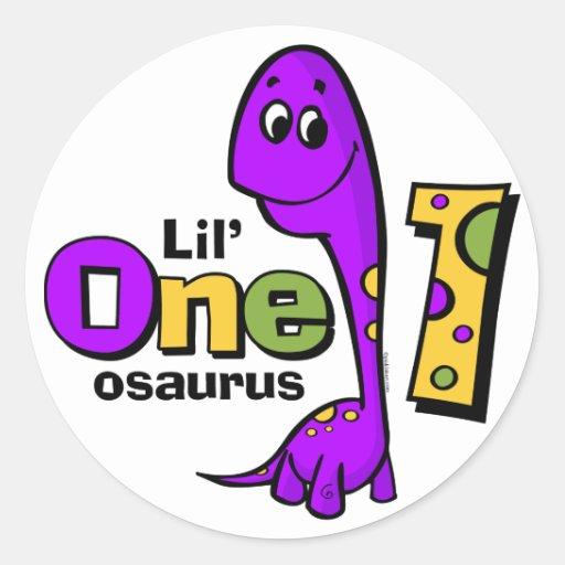 1r cumpleaños del dinosaurio púrpura pegatina redonda
