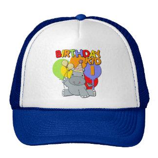 1r cumpleaños del hipopótamo gorros bordados