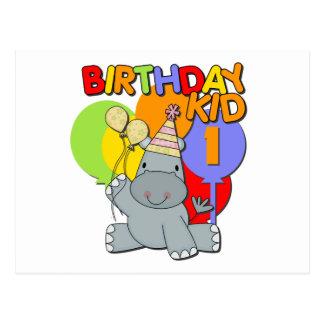 1r cumpleaños del hipopótamo tarjeta postal