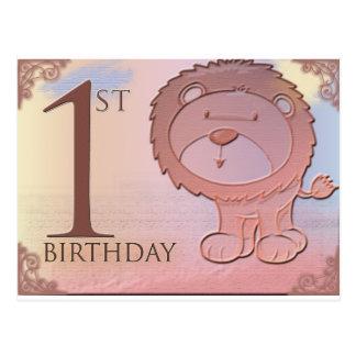 1r cumpleaños del león amistoso tarjetas postales