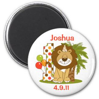 1r cumpleaños del león lindo iman de frigorífico