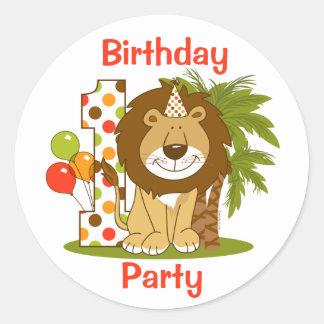 1r cumpleaños del león lindo pegatina redonda