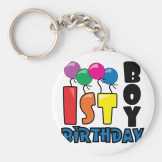 1r cumpleaños del muchacho llavero redondo tipo pin