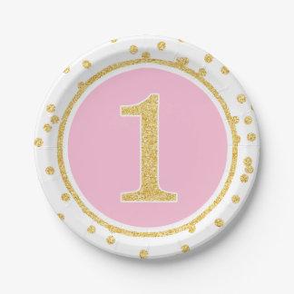 1r cumpleaños del oro del falso confeti rosado del plato de papel de 7 pulgadas