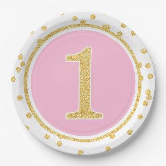 1r cumpleaños del oro del falso confeti rosado del plato de papel de 9 pulgadas