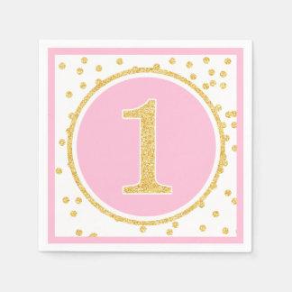 1r cumpleaños del oro del falso confeti rosado del servilletas desechables