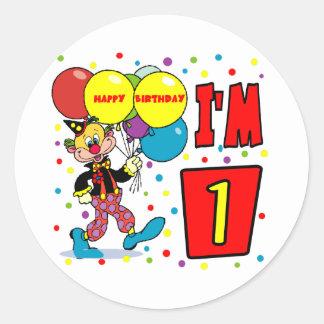 1r Cumpleaños del payaso del cumpleaños Pegatina Redonda
