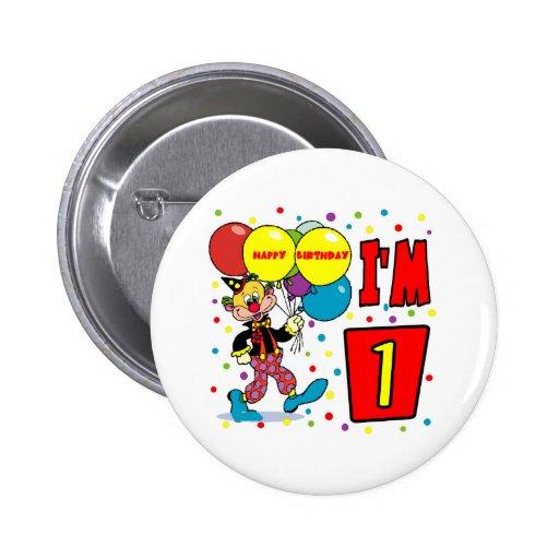 1r Cumpleaños del payaso del cumpleaños Pin Redondo De 2 Pulgadas