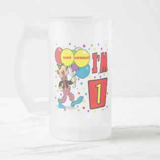 1r Cumpleaños del payaso del cumpleaños Tazas De Café