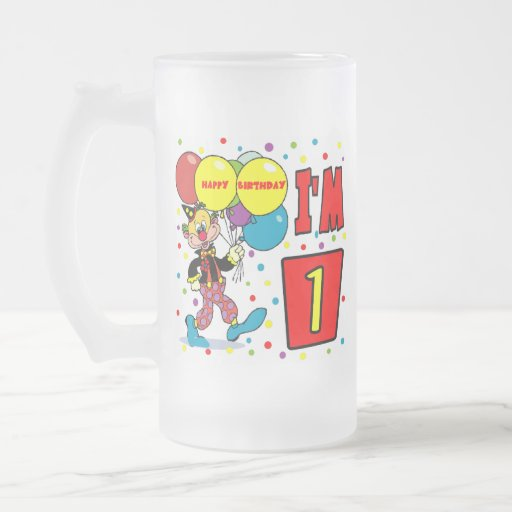1r Cumpleaños del payaso del cumpleaños Taza Cristal Mate