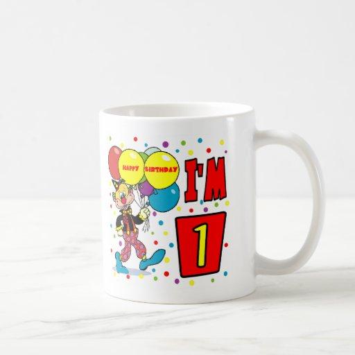 1r Cumpleaños del payaso del cumpleaños Taza De Café