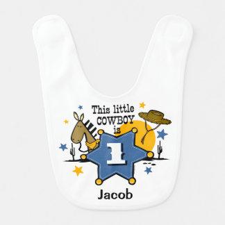 1r cumpleaños del pequeño vaquero baberos