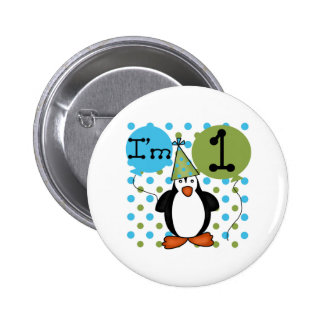 1r Cumpleaños del pingüino Pin Redondo 5 Cm