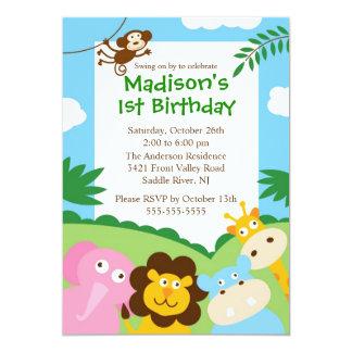 """1r cumpleaños del safari lindo invitación 5"""" x 7"""""""