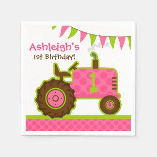 1r cumpleaños del tractor rosado servilleta de papel