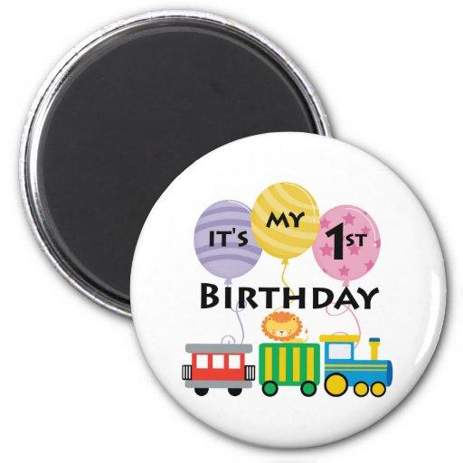 1r Cumpleaños del tren del cumpleaños Iman De Frigorífico