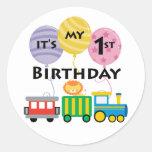 1r Cumpleaños del tren del cumpleaños Etiqueta Redonda